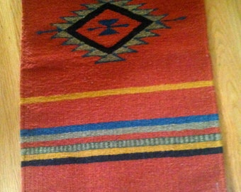 Sale Vintage 60s Mexican Rug Blanket- Hand Weaved Southwestern Wool Rug/ Handmade South American Mexican Aztec Tapestry Wall Hanging
