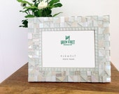 All White Mosaic Frame // Glass Photo Frame // 4 x 6 or 5 x 7 Picture Frame // Wedding Gift