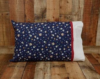 Snowman Pillowcase - Standard Pillowcase - Christmas Pillow Case - Bedroom Decor - Winter Bedding - Snowflake Pillow Cover - Christmas Gift