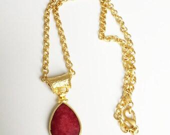 handmade, gold plated chain, chain, stone, semi-precious stone, 22k, gold