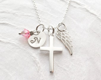 First Communion Gift, Personalized Religious Necklace, Sterling Silver, Keepsake, Hand Stamped Initial, Cross, Angel Wing, Confirmation Gift