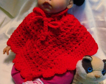 FREE SHIPPING Poncho Baby Girl Handmade Crochet Red 3-6 Mos & READY to Free Ship