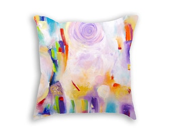 Cushion case Pastel pillow case Light colors pillow cover 18x18 Abstract painting Colorful pastel decorative pillows Fine art print cushion