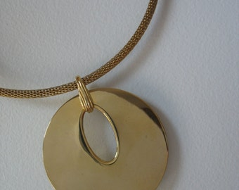 Modernist Necklace - Gold Tone Collar - Statement Necklace