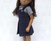 """Cord Trägerkleid und Vichy-Karo-Bluse Outfit für 16/17"""" Sasha Puppe - dunklere Farbtöne"""