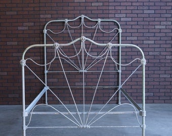 Antique Full Iron Bed / Shabby Chic Bed / Double Bed Frame / Cottage Iron Bed / Vintage Bed