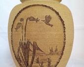 Vintage Hand Carved Stoneware Vase featuring decorative Hummingbird flower tan brown