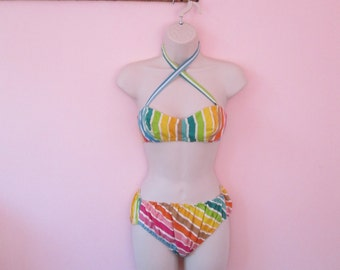 Stunning Vintage 1950s 50s Rainbow Atomic Stripe Bathing Suit Swimsuit Bikini -Brigitte Bardot-Bad Girl-Pinup-Vixen-Bombshell-VLV PoolParty