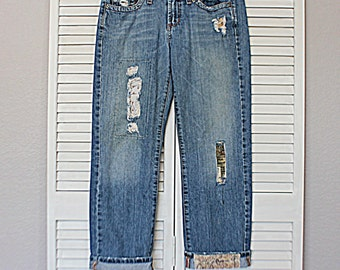 Boyfriend Destroyed Jeans / Unique Funky Boho Denim / Ripped Patched Frayed Jean / Size 5 / Reloved Clothing Co