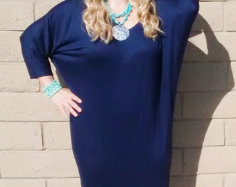 Navy Loose Fitting Three Quarter Sleeve Cocoon Jersey Dress~~Jersey Knit V Neck Batwing Cocoon Dress ~All Sizes / Colors