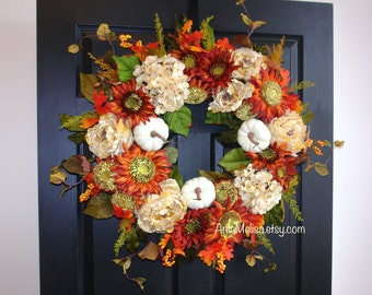 fall wreath 30'' autumn wreaths Thanksgiving wreath front door wreaths decorations outdoor wreaths, summer wreaths, Mother's Day gift