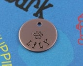 SMALL Dog or Cat Tag - Cute Custom Pet Tag - Hand-Stamped Tag with Paw Print - Phone Number on Back
