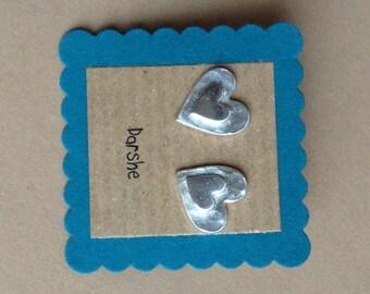 Fine Silver Double heart Earring Studs, silver earrings, heart earrings, studs, silver studs