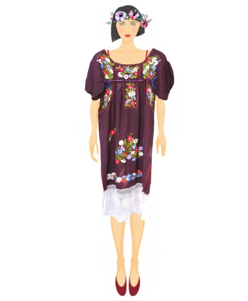 Embroidered dress mexican for women cinco de mayo