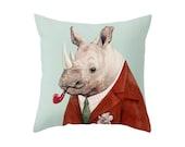 Rhino Throw Pillow, Animal Pillow, Rhinoceros Pillow, Animal Cushion, Decorative Cushion, Rhino Pillow