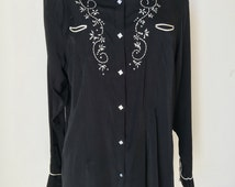 """WRANGLER Western shirt black Embroidered  Rhinestone Dressy satin pearl snap buttons satin piping tailored rayon plus size  chest 46""""   XL"""