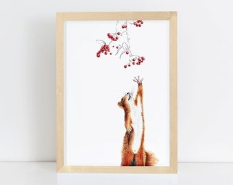 squirrel with red berrys