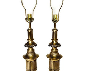 Mid Century Greek Key Brass Lamps Tall Hollywood Regency Pair Modern Glam Gold Tone Console Lamps Ornate Pedestal Table Lamp All Original