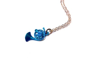 Blue French Horn Necklace Inspired by How I Met Your Mother: musical instrument charm, music themed jewelry