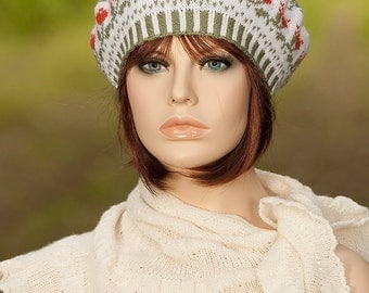 Knitted fair isle beret / tam / hat, jacquard, motifs of roses, white, green, rust colors, woolen beret, for women, for girls.