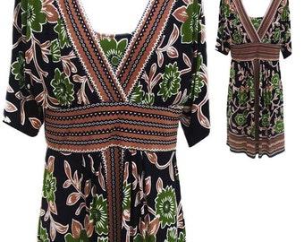 Jones New York Print Dress with Criss Cross Bodice - Fits Size Large (US Sz 14)