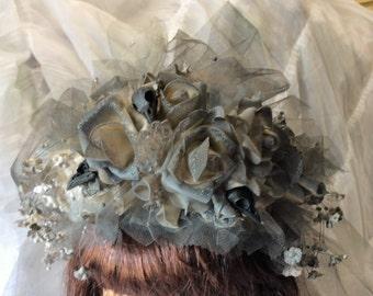 "Black Raven Skull Wedding Veil-Bridal Veil-Gothic Wedding ACCESSORIES-Floral Crown with Veil-Brides Veil-Halloween Wedding-""Witchy Woman"""