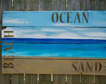 Beachy Painting on Reclaimed Wood