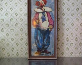 Vintage Bardot Happy Clown, Framed 1960's