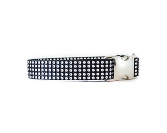 "Black Rhinestone Dog Collar - 3/4"" - 1.5"" - Silver Swarovski-Like Gemstone Pet Collar for Small and Large Dogs"