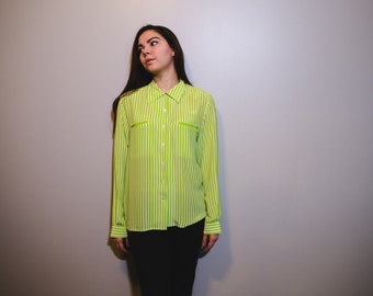 Lime Stripped Button Up Blouse