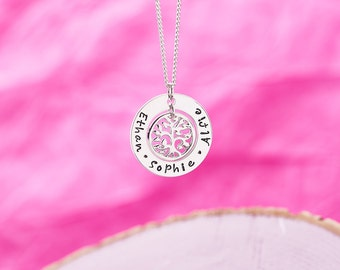 Personalised Family Tree Necklace - Hand Stamped in Sterling Silver - Present for Mum - Family Name Necklace - Mothers Day Gift