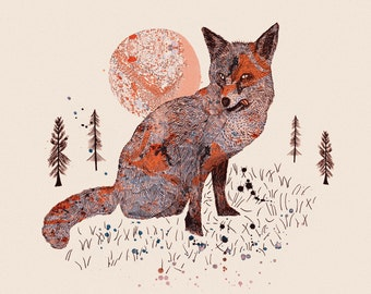 Woodland Forest Series, Illustration Art Giclee Print 'Fox & Trees'