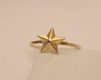 14k Gold Star Ring, 14K Star Ring, 14k Stackable Ring, 14k Star Jewelry, 14k Stack Ring, 14k Thumb Ring, 14k Knuckle Ring, 14k Gold Ring