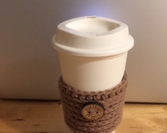 Tan Crochet Coffee Cozy - Crochet Coffee Sleeve - Coffee Cozy - Coffee Sleeve - To Go Coffee Cup Sleeve