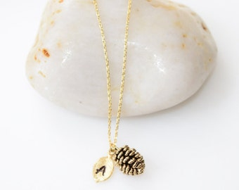SPECIAL SALE-Gold Pinecone Necklace, Gold Jewelry, Pinecone Necklace, Personalized Jewelry