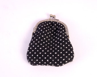 Black & White Polkadot Purse - antique gold metal clasp hand sewn unisex spots spotty dots dotty handmade by The Emperor's Old Clothes