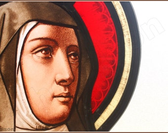 1900s Stained glass panel with female portrait,probably Saint Theresa of Avila.  1880s to 1910s.