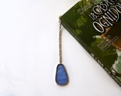 Cornflowers blue bookmark small size in shape of matrioska with metal and Tiffany glass