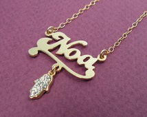 Gold Name personalized hamsa necklace. valentine gift, sweet 16 gift, personalized jewelry, gift for her, name pendant, name necklace.