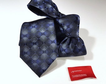 Silk Tie with Navy Blue Charcoal Grey and Black