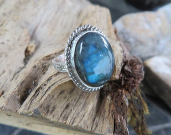Labradorite, size 10, handmade, statement ring, Labradorite ring, bohemian jewelry, metalwork, gemstone, natural stone, blue, silver, boho
