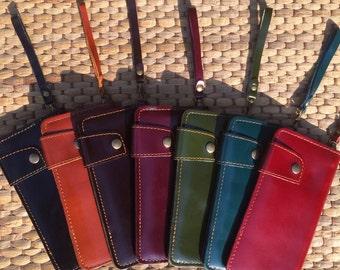 Leather Wristlet / Long Wallet / Iphone 6 Case / Wrist Wallet /  Credit Card Holder / Phone Wallet