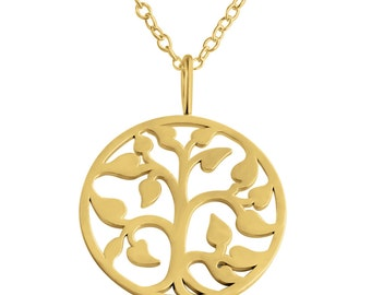 Tree of Life Charm Pendant Necklace #14k Gold Plated over 925 Sterling Silver #Azaggi N0155G
