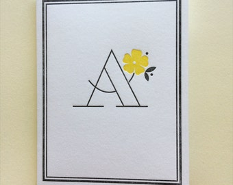 "Letterpress Monogram Cards :  Letter ""A"" Six Pack"
