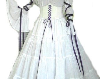 Renaissance Costume Wedding Gown Dress Corset Chemise Pirate Medieval LARP Wench White Purple Choice Of Colors