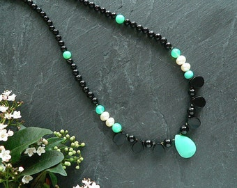 Art Deco Style Black Spinel necklace with Cultured Pearls, Agate and Chrysoprase with Gold plated Silver toggle clasp