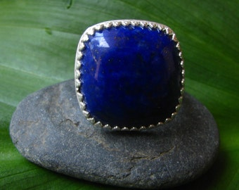 Azure Blue Lapis Lazuli Sterling Silver Ring - Size 7 1/2