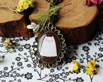 White cat pendant Cat necklace Kitty Meow jewelry For cat lovers For pets lovers Free shipping Girls jewelry Gift for birthday