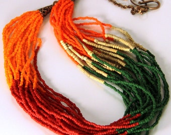 Colorful African Seed Bead Tribal Necklace