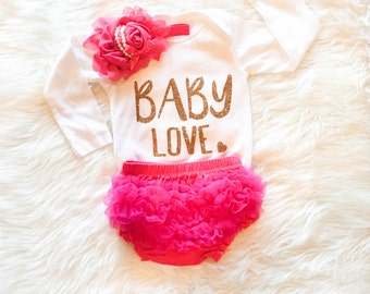 Baby Shower Gift Baby Love Baby Girls Bodysuit Baby Clothes Sparkly Glitter Bodysuit Baby Girl Infant Clothing